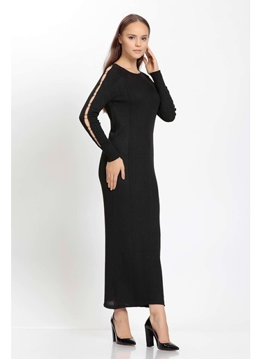 Vitrin Kolları Metal Halka Detaylı Elbise Siyah